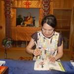 Tampons et écritures sur mon livre
