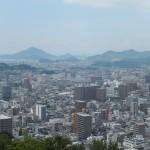 Vue du Château vers le nord, les îles vers  Hiroshima