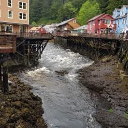 Rivière traverse Kechikan, rose de saumon en été