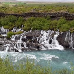 Hraunfossar Barnafoss eaux les eaux se rejoignent